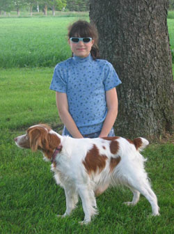 Brittany dog Ethyl with Leah