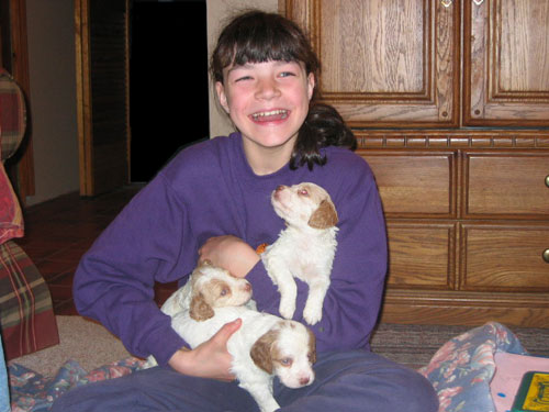 Leah with Brittany pups