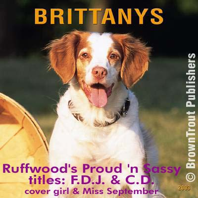 Pride, Brittany was cover girl and Miss September in Brown Trout Publishers Brittany Calendar 2003